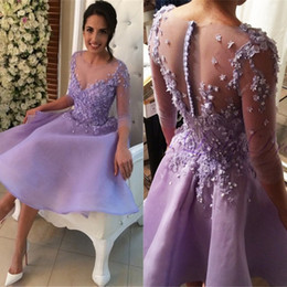 Wholesale Three Color Light Party - New Arrival Sexy Short Homecoimng Dresses Hand Made Flowers Three Quarter Sleeves Junior Graduation Party Dresses with Buttons Back
