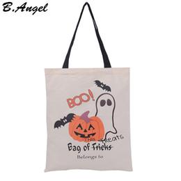 Wholesale Medium White Gift Bags - 6 Style High Quality Halloween Bag Halloween Candy Gift Bag Canvas Bag Pumpkin Party Handbag HK-S