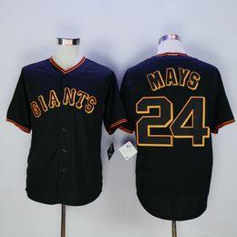 Wholesale Cheap Uniform Shirts For Men - 2016 Giants #24 MAYS Baseball Jerseys Black New Baseball Shirts Cheap Baseball Uniform for Men Baseball Wears Stitched Baseball Shirts