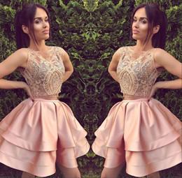 Wholesale Cheap Black Ruffle Mini Skirt - 2017 Blush Pink Sleeveless Homecoming Party Dresses Tiered Puffy Skirt Ruffled Lace Appliques Beaded Short Graduation Dress Cheap Prom Dress
