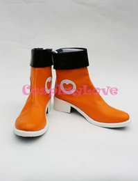 Wholesale Boots Smile - Wholesale-Custom Made Japanese Anime Orange Vocaloid Hatsune Miku Sing & Smile Version Cosplay Shoes Boots For Christmas Halloween