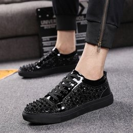 Wholesale Men Steel Toe - Europe And The United States Fashion Shoes Men Fashion Trend Nightclub Shoes Breathable Paint Leather Hair Stylist With Shoes S-033