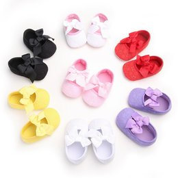 Wholesale First Knot - Spring Soft Sole Girl Baby Shoes Cotton First Walkers Fashion Baby Girl Shoes Butterfly-knot First Sole Kids Shoes