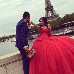 Wholesale Tulle Skirt Quinceanera Dresses - 2017 Cheap Red Ball Gown Quinceanera Dresses Sweetheart Neck Tulle Sweet 16 Ruffle Ruffles Skirt Princess Prom Party Gowns