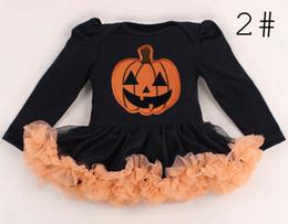 Wholesale Baby Rompers Skulls - 0-2T 2016 Baby Girl Halloween Orange Rompers Infant Cotton Long Sleeve Skull Pumpkin Jumpsuit Costumes 4styles choose