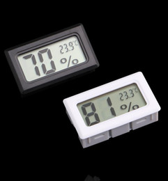 Wholesale Thermometer Wholesale Temperature - Mini Digital LCD Embedded Thermometers Hygrometers Temperature Humidity Meter indoor Thermometer Black White