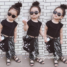 Wholesale Pull Girl - 2016 INS National wind children outfits cotton T-shirts+chiffon Pull crotch pants 2pcs set baby Girl Outfits Kids Clothing Suits