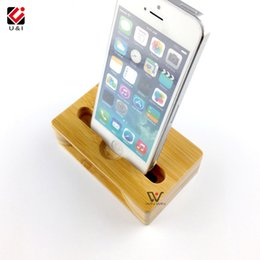 Wholesale Real Mobile Phone - Mobile Cell Phone stand for iPhone Real Bamboo Wood Tablet Holder Mini Small Portable Lound Speaker Voice Music Disply Amplifier for Samsung