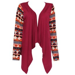 Wholesale Long Red Wool Ladies Coat - 2017 Womens Elegant Irregular Print Patchwork Thin Cardigan O-neck Full Sleeve Slim Jackets Ladies Fashion Outwear Coats S-5XL