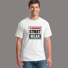 big blue shirt Promo Codes - Wholesale-VISION STREET WEAR Print Tshirt For Men Women Short Sleeve Cotton Casual White Shirt Top Tee S-XXXL Big Size 186
