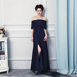 Wholesale Strapless Lace Bridesmaid Dresses - Long Elegant Prom Dresses Vestido Longo Festa 2017 Strapless Sexy Split Dark Blue Lace Evening Dresses