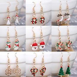 Wholesale Snowman Bells - New Fashion Women Santa Claus Snowman lovely Tree Bell Christmas Jewelry Christmas Earring For Women Gifts