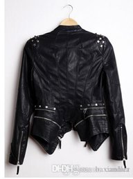 Wholesale Leather Jacket Studded - Wholesale-New Womens Punk Spike Studded Shoulder PU Leather Jacket Zipper Coat PIUS Size S-4XL