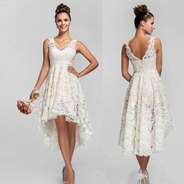Wholesale Garden Bridesmaids Dresses - 2016 Lace High Low Lace Short Bridesmaids Dresses Empire Pleats Chiffon Long Plus Size Maid Of Honor Wedding Party Dress