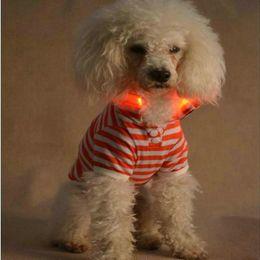 Wholesale Halloween Led Shirts - Cheap wholesale pet clothes LED pet fashion jewelry LED light stripe shirt pet dog clothes fashion T-shirt T 6 color XL