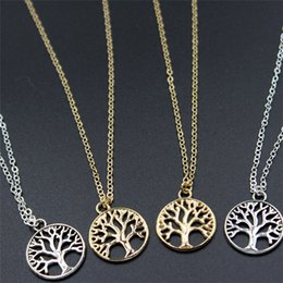 Wholesale tree pendants antique - Vintage Tree of Life Pendant Necklaces Antique Silver & Gold Plated Charm Necklace Peace Trees Sweater Chain Fine Jewelry Xmas Gift A214