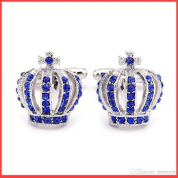 Wholesale wholesale banquet plates - Crystal Crown Cufflinks men women gold silver banquet business suit French skrit Cuff links Jewelry valentine's day gift Drop Shipping