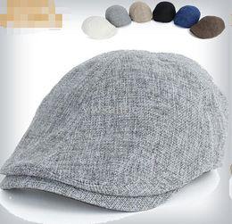 Wholesale Twill Newsboy Cap - Fashion Summer Peaked Beret Hat Newsboy Visor Hats Caps Golf Driving Cabbie Beret Gatsby Flat Cap Flax Hat