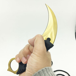 Wholesale Golden Teeth - CS GO Counter Strike claw Karambit Knife Neck Knife with Sheath Tiger Tooth Real game Knife Claw camping knife golden color