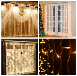 Wholesale Heart Strip Curtains - 3M x 3M 300 LED Home Outdoor Holiday Christmas Decorative Wedding xmas String Fairy Curtain Garlands Strip Party Lights waterproof