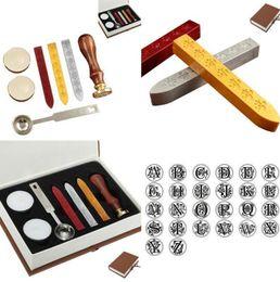 Wholesale Vintage Wooden Stamp Set - European Retro Wooden Handle Letter Wax Seal Stamp Kit Vintage Retro Letter Envolop Wax Sealing Set with Gold Red Silver Sticks KKA3046