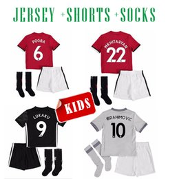 Wholesale Children S Cotton Socks - 2017 2018 IBRAHIMOVIC MAN united kids soccer Jersey HOME RED SHORTS+SOCKS 17 18 POGBA LUKAKU JERSEY THIRD AWAY GRAY CHILD CAMISETA DE FUTBOL