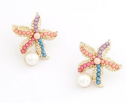 Wholesale Starfish Pearl Stud Earrings - Boutique Animal Earrings White Pearl Stud 10PRS Women Starfish Earring Seed Beads Design Stud 18k Gold Plated Girls Cute Stud Free Shipping