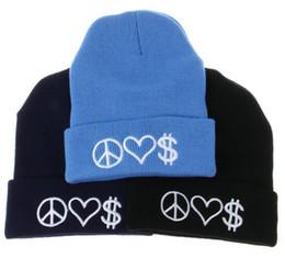 Wholesale Love Knit Yarn - 2016 50 piece lot PEACE LOVE MONEY skullies beanies Fashion Women Ladies Unisex Winter Knit Cap Hat Knitted Skull Beanies casual hats