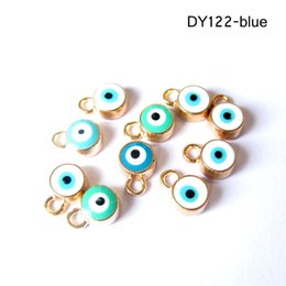 Wholesale Evil Eye Connector Free - 2016 Hot Sale 50pcs lot 10mm*7mm Evil Eye Necklace Pendant Connectors DIY Materials Jewelry Blue Red Findings Accessories Free Shipping