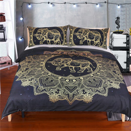Wholesale Comforter Sets For King Size - Golden Mandala Elephant Bedding Sets 3pcs Home Textiles Black Quilt Pillowcase 100% Polyester (Twin Full Queen King Size for choice)