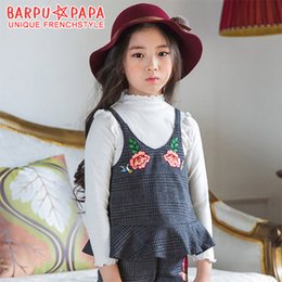 Wholesale Wholesale Embroidered Tank Tops - Korean Big Girls Tops Vest Tank Top Embroidered Flower Plaid Pattern Autumn Outwear Clothing Shirt Suspender Tops Elegant Girl Cloth A7545