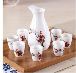 handpainted ceramics Promo Codes - Cups Handpainted Ceramics Wine Pot Set decoration Home Chinese Handpainted Ceramics Pottery Wine Set
