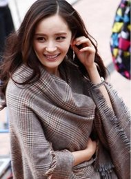 Wholesale Long Scarves White - Korea purchasing new winter plaid wool cashmere scarf woman shawl dual plus long thick cashmere scarf female Miss