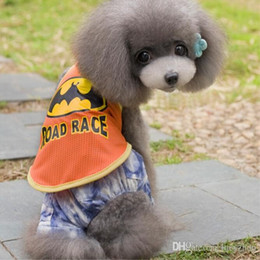Wholesale Pet Dog Clothes Batman - Cute Batman Dog Pet Vest Ventilate Cartoon Puppy Cotton Coats Clothes Pet Supplier Orange Gray Color 5 Size 50PCS LOT