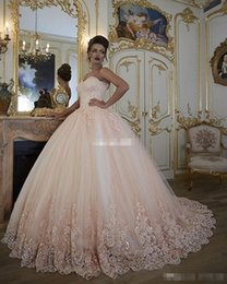 Wholesale Sweetheart Lace Bodice Corset - Vintage Blush Pink Wedding Dresses Bridal Gowns Turkey Lace Bling Beaded Tulle Sweetheart Corset Back Puffy Plus Size Ball Gown 2017