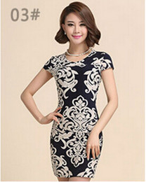 Wholesale Silk Mini Tunic Dress - 2016 New Fashion Women Summer dress Plus size Slim Tunic Milk Silk print Floral dresses Casual sexy bodycon dress free shipping