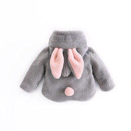 Wholesale ear fur coats - Baby Infant Girls Rabbit Ear Fur Winter Warm Coat Cloak Jacket Thick Warm Clothes Baby Girl Cute Hooded Long Sleeve Coats
