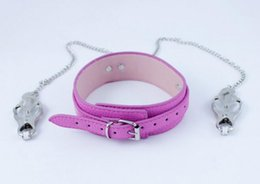 Wholesale Neck Nipple Bondage Toy - New Pink Leather Neck Ring Collar Restraint with Nipple Clips Clamps Stretching Stimulator Breast Bondage Locking BDSM Sex Games Toy A155