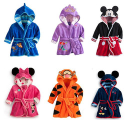 Wholesale Little Girls Cartoons - 2016 new arrive Cartoon Minnie Mickey Mouse bathrobe Coral fleece Kids Tiger robes The Little Mermaid toweling robe Boy Girl bath wear