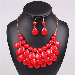 Wholesale Bright Bib Necklace - 2016 New Arrival Fashion Bright Color Multi Layers Resin Gem Bib Statement Chunky Necklaces with Earrings Mixed Colors collares