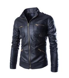 Wholesale Leather Jackets Korea - 2016 new arrive Korea men's jacket Multi zipper motorcycle pu leather jacket stand collar men's coats black 4659