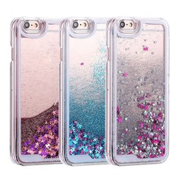Wholesale Iphone 4s Gold - For iPhone 6 6S 7 8 Plus 4S 5 5S SE 5C Phone Cases Glitter Stars Dynamic Liquid Quicksand PC Hard Back Cover Capa Shell