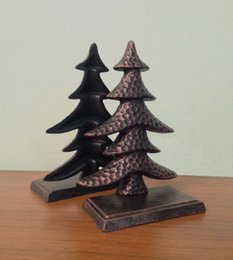 Wholesale Bookends Ship - 2 Pieces Antique Cast Iron Christmas Tress Shape Bookend Book End CD's DVDs Metal Home Office Desk Table Decor Study Free Ship