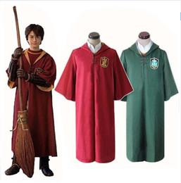 Wholesale Uniform Cloaks - Harry Potter Magic Cape Robe Quidditch Sport Uniform Movie Cosplay Costume Halloween Hooded Cloak Harry Potter Cape S-XXL