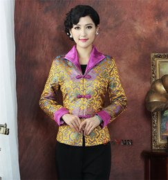 Wholesale Chinese Women Tang Suit - Wholesale- Holiday Sale Gold Lady Silk Satin Coat Chinese One Button Coat Tang Suit Floral Jacket Dropshipping S M L XL XXL XXXL NJ163