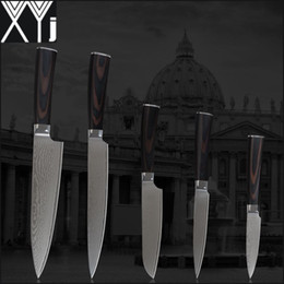 "Wholesale Damascus Steel Kitchen - XYJ damascus knives set 8 inch chef 8"" slicing 5.5"" utility 5"" utility 3.5"" fruit knife damascus stainless steel kitchen knives."