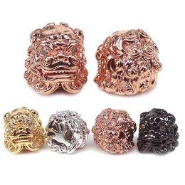 Wholesale Pi Xiu Bracelet - CZ pave Good fortune Pi Xiu beads,Gold Lion Beads,Chinese fortune beads,Silver Kylin Beads For Men Bracelet Making Spacer Metal Animal Beads