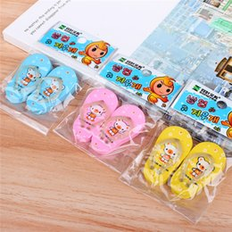 Wholesale Toy Erasers Free Shipping - Korea stationery cartoon bear mini slippers style eraser lovely bear erasers student prizes small toys 30 packs lot free shipping