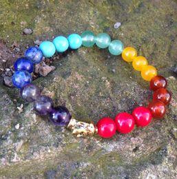 Wholesale Orange Coral Bracelets - SN0422 Wholesale 7 Chakra Yoga Buddha Bracelet Men Women Amethyst Lapis Coral Red Agate Orange Green Stone Bracelet