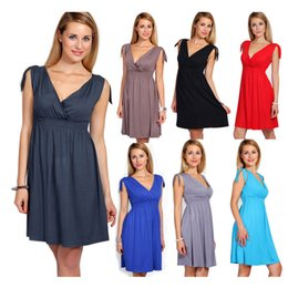 Wholesale Hot Sexy Office Wear - 2016 New Hot Women Autumn Summer Dress Sexy V-NecK Wrap Robe Casual Dresses Plus Size Solid Party Maxi Office Work Dresses 3XL